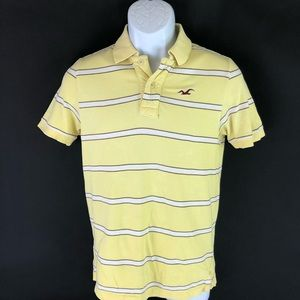 Hollister Men's Yellow Polo Shirt S
